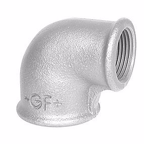 Image of   Georg Fischer vinkel 90° galvaniseret reduceret 1-1/2'' muffe-muffe