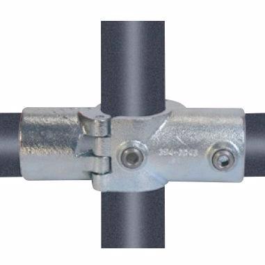 "Køb Altech Pipe Clamps kryds med 2 muffer 42,4 mm x 11/4"". Galvaniseret. Reol system"