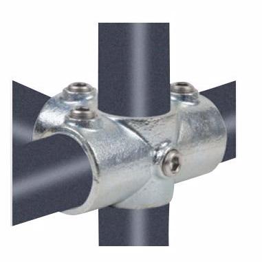 "Køb Altech Pipe Clamps kryds med 3 muffer 42,4 mm x 11/4"". Galvaniseret. Reol system"