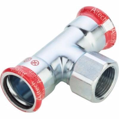Image of   FZ press t-stykke med muffe 18-1/2''-18mm. Til varme- og kølesystemer. M-bakke