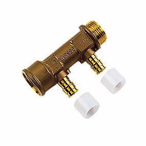 Image of   Uponor Quick & Easy DR fordelerrør med fast muffe 2 afgreninger 15 mm x 3/4''