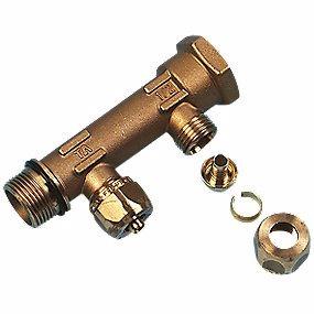 Image of   Uponor fordelerrør med fast muffe 2 afgreninger 15 mm - 3/4''