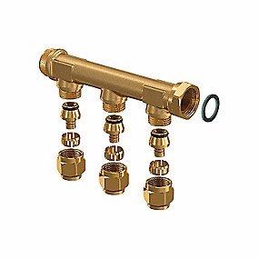 Image of   Uponor fordelerrør med fast muffe 3 afgreninger 15 mm - 3/4''