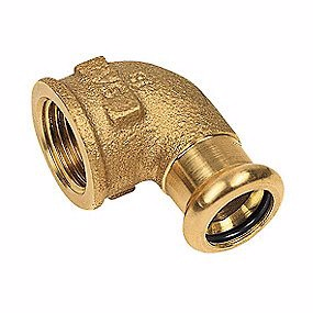 Image of   kobber Cu press vinkel 3/4'' - 22 mm 90° med indvendigt gevind og muffe