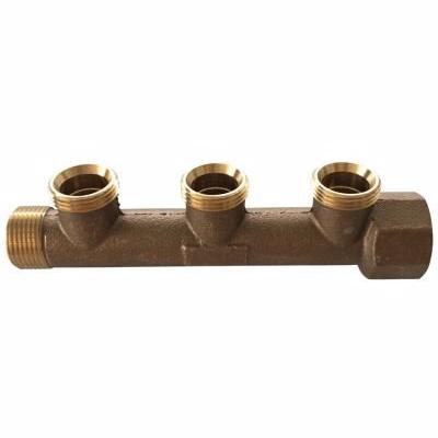 Image of   fordelerrør 3/4'' med 3 x 1/2'' grene. Bronze