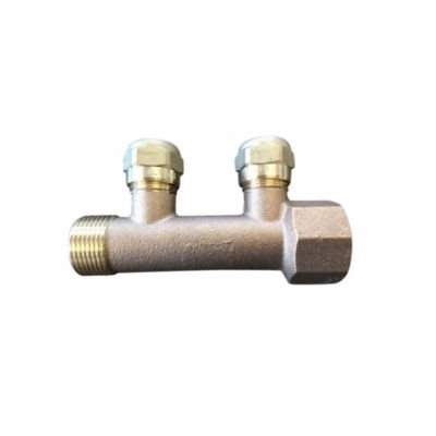Image of   fordelerrør 3/4'' med 2x1/2'' grene inkl. 15 mm omløber. Bronze