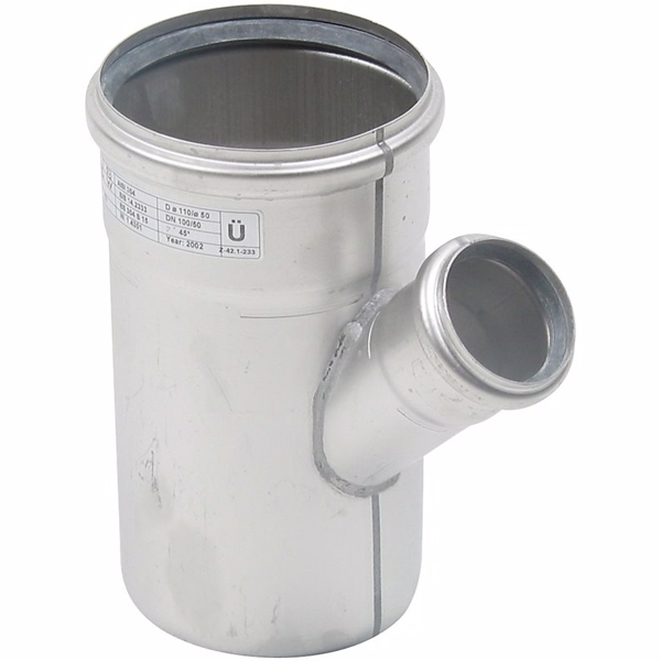 Image of   Blücher EuroPipe grenrør, 45°, 110/50 mm syrefast
