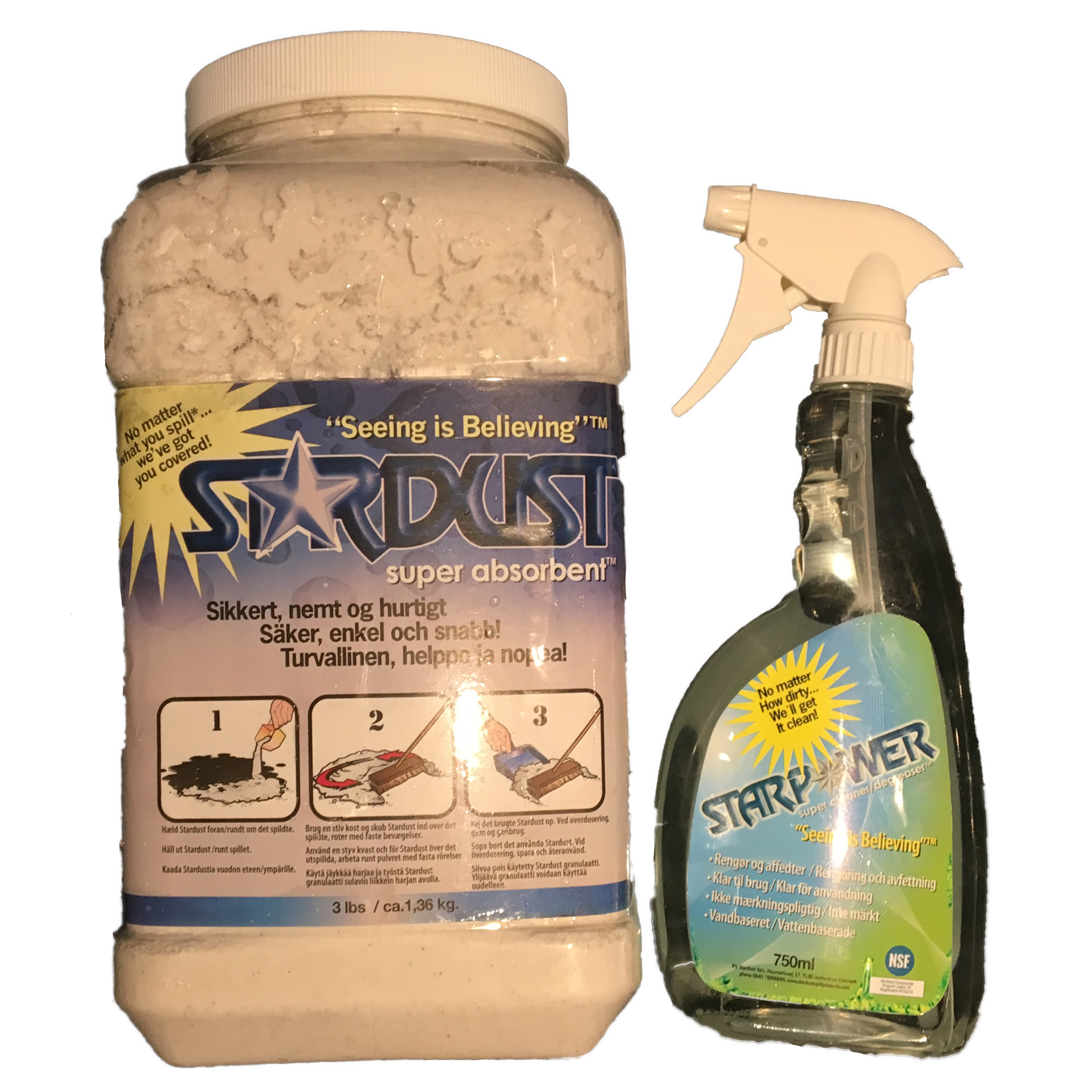 Stardust Super Absorbent + Starpower Super Cleaner  750 ml. - Sæt