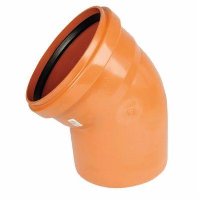 Image of   PVC bøjning 160mm, 45°. Med kort indstiksmuffe EN1401