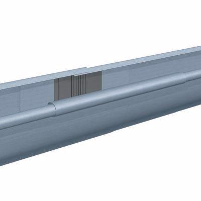 Rheinzink Tagrende 0,8x333 mm 1/4-rund. Nr. 12. Ekspansion. Lgd a 2,95 mtr. prePatina blaugrau. -T