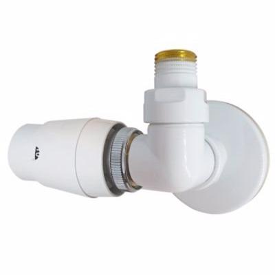 Image of   Kriss Corner RTL ventil 1/2''. Vinkelløbende ventil med returtermostat, venstre. Hvid