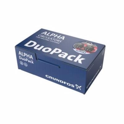Image of   Grundfos ALPHA2 DuoPack cirkulationspumpe 25-40 180mm. 1x230V 50Hz 6H. Kasse med 2 stk.