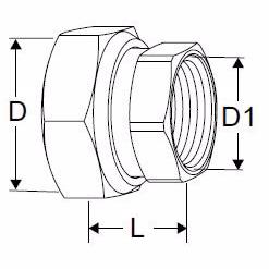 Image of   TA COMPACT-P kobling med indv. gevind 1/2x3/4