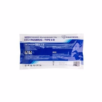 Engangs mundbind type II R EN 14683:2019 - m/øreelastikker og næseklemmepose a 10stk