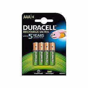 Duracell Recharge Ultra AAA batteri 850mAh. Genopladelig - 4 stk. pr. pakke