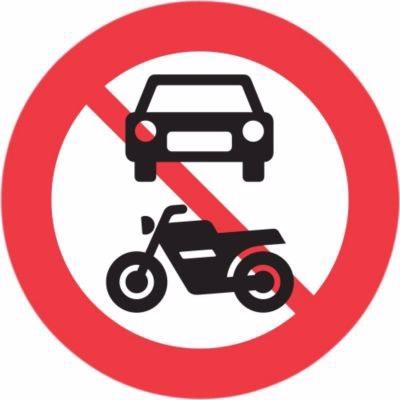 Image of   Forbudstavle - Motorkørsel forbudt C22,1 70cm T3 refleks, DS/EN12899-1