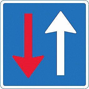 Image of   Vigepligtstavle - Modkørende færdsel skal holde tilbage B19 50x50 T3 refleks, DS/EN12899-1