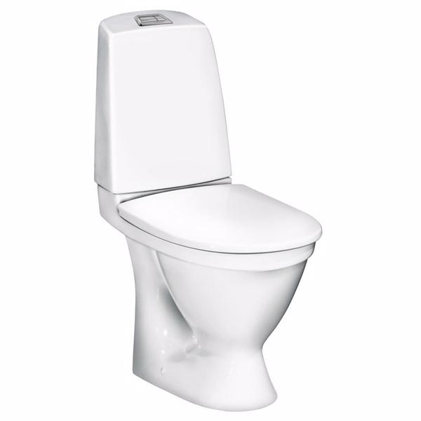 Image of   Gustavsberg 5500L Nautic wc med skjult S-lås til gulvmontering. 2/4ltr. Krom trykknap.