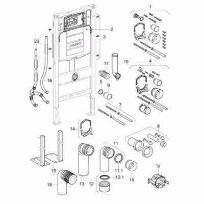 Image of   Geberit Duofix WC-element, 112cm, med Sigma indbygningscisterne 12cm, type objekt