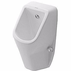 Image of   Duravit D-Code urinal vandtilslutning bagfra. Åben skyllerand. Hvid