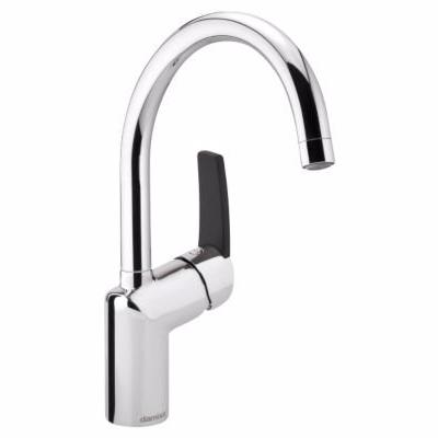 Image of   Damixa Slate håndvaskarmatur xc med base & sort håndtag. Krom