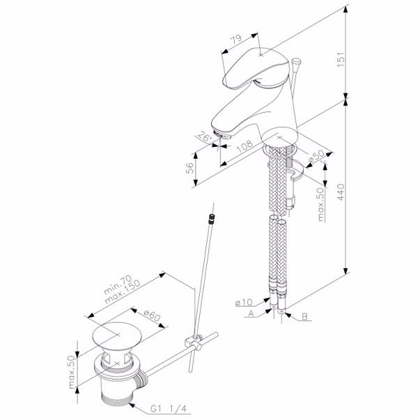 Image of   Damixa Space et-grebs håndvaskarmatur med bundventil