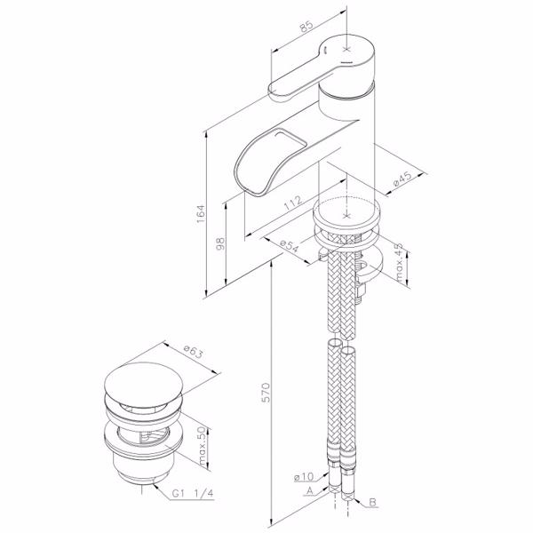 Image of   Damixa Willow håndvaskbatteri med åben tud