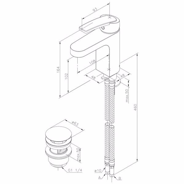 Image of   Damixa Slate Håndvaskarmatur med X-change base
