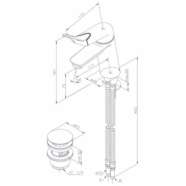 Image of   Damixa Clover Easy Håndvaskarmatur med X-Change base