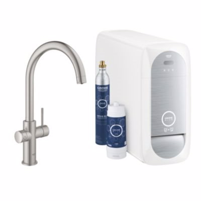 Image of   GROHE Blue Home Køkkenarmatur med køler starter kit. C-tud. Supersteel