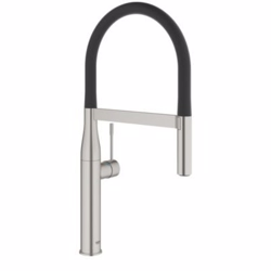 Grohe Essence køkkenarmatur med prof spray, sort slange, supersteel