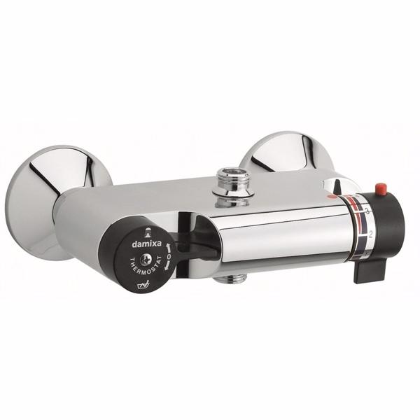 Damixa TMC kar-/brusebatteri forkmet. Med sorte greb. Uden rosetter