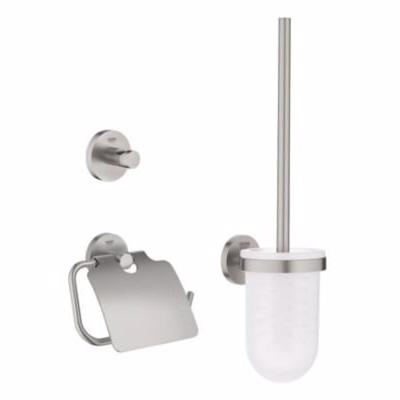 Image of   Grohe Essentials tilbehørssæt 3 i 1, børstesæt, papirholder, krog Supersteel