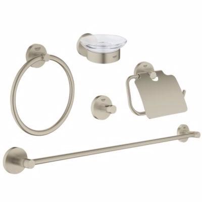Image of   Grohe Essentials tilbehørssæt 5 i 1, håndklædeholder & -ring, krog , sæbeskål, papirholder,