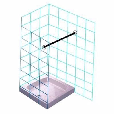 Image of   Van Der P Forhængstang 1000 mm med 2 vægflanger. Rustfrit stål