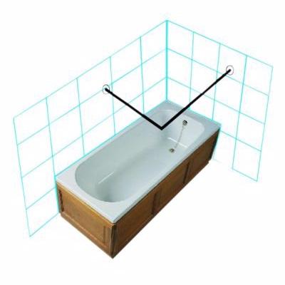 Image of   Van Der P Forhængstang rustfrit stål 2000x2000mm med vægflanger/lofttøtte. Rustfrit stål