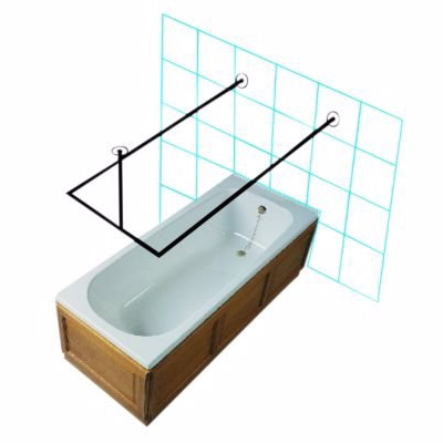 Image of   Van Der P Forhængstang 1000x1000x1000mm med flanger/lofttøtte. Rustfrit stål
