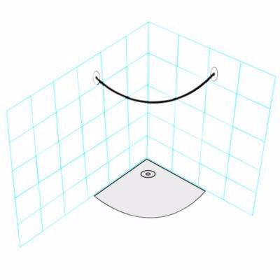 Image of   Van Der P Forhængstang rustfrit stål 1/4 Cirkel R:98 cm med specialflanger