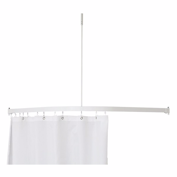 Image of   Alu Vinkelstang 90x90cm komplet med loftstøtte og gardinringe. Hvid