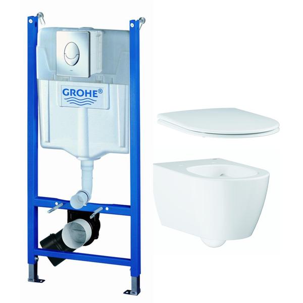 Image of   Grohe toilet sampakke - Væghænt toilet, sæde, cisterne + trykknap